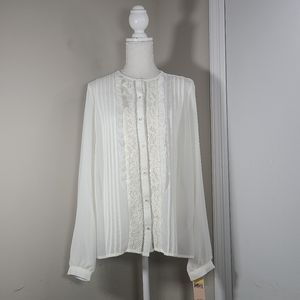 NWT Nanette Lepore White Blouse Women Size Medium